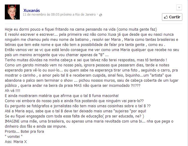 Xuxanás desabafou através de sua página no facebook